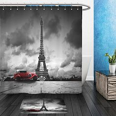 Vanfan Bathroom 2Suits 1 Shower Curtains & 1 Floor Mats artistic image of effel tower paris france and red retro car black and white…