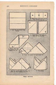 1912 napkin folding original antique print no. 1. $12.50, via Etsy.