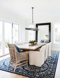 Blue and White - Statement Rug Grounds the room but still keeps it peaceful blackband_design