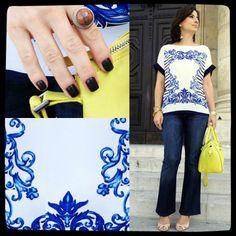 camisola com motivos de azulejos