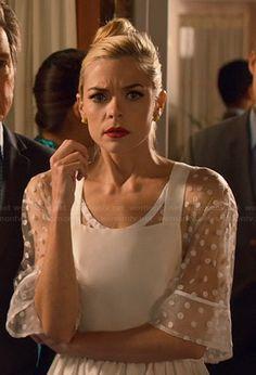 Lemon's sheer white polka dot pinafore dress on Hart of Dixie.  Outfit Details: http://wornontv.net/44083/ #HartofDixie
