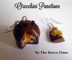 orecchini pendenti con panettone in fimo ...Sono Totalmente realizzati a mano Senza stampi e lucidati con apposita vernice Costo: 7euro