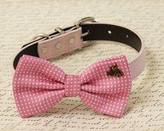 Pink dog bow tie collar - I Love my dog - Polka dots - Dog lovers- Birthday gift - leather collar