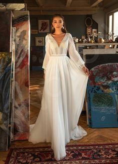 Individual size A-line silhouette Shelly wedding dress. Modern style by DevotionDresses Long sleeve wedding dress Boho bishop sleeve wedding dress Stunning Wedding Dresses, Long Wedding Dresses, Long Sleeve Wedding, Unique Dresses, Bridal Dresses, Vintage Dresses, Arabic Wedding Dresses, Vintage Style Wedding Dresses, Vintage Bridal