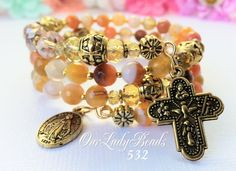 Rosary Bracelet,Yellow-Orange Agate Semi-precious Rosary Wrap Bracelet,Catholic Bracelet,Faith Jewelry,Religious Gifts,#532 by OURLADYBeads on Etsy