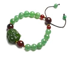 Live in Joy Cute Happy Buddha Green Jade by FortuneJadeJewelry, £35.00 Made by Jade Gemstone buddha pendant 20x2014mm jade green beads 8 mm, 3 dark red carnelian 10 mm beads, Free for all customers: special offer oriental Design golden dragon gift wrappings, gift box, fortune feng shui envelope