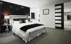 Metricon - Lindrum Master Bedroom... love the chocolate entry door