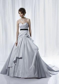 Non-white dove grey ballgown wedding dress with modern bustle and black bridal sash