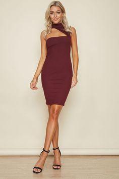 Cut It Out Midi Dress Burgundy