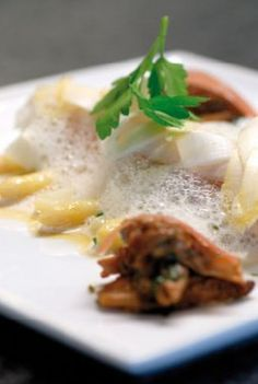 Soufflé van zeetong met Mechelse asperges