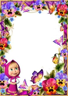 Baby psd frame for photoshop, Masha and the Bear, pansies and butterflies - Birthday Photo Frame, Birthday Photos, Bear Birthday, Girl Birthday, Photo Frame Wallpaper, Marsha And The Bear, Disney Frames, Book And Frame, Photo Layers