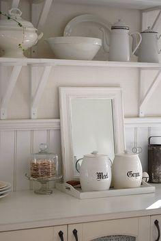 OPEN KITCHEN SHELVING :: White IKEA brackets & shelves