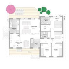 Husmodellen Favorithem Kobbskär från A-hus - Hus. Villa, House Floor Plans, Planer, Building A House, Architecture Design, Sweet Home, House Design, Flooring, How To Plan