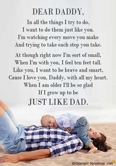 Father's Day Poems - View cute collection of happy father's day poems from daughter and son with many short, funny Father's Day verses from child or kids to dad. Fathers Day Verses, Happy Fathers Day Poems, Father Poems, Dad Poems, Fathers Day Messages, Father Quotes, Quotes About Fathers Day, Happy Poems, Funny Fathers Day Card