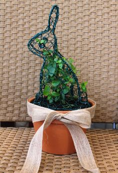 This bunny smells so good! Potted chocolate mint topiary bunny.