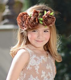 Dark Brown Fall Flower Crowns Gold Braid Headband