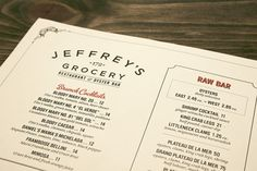 Designspiration — Art of the Menu: Jeffrey's Grocery