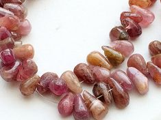 Pink Tourmaline Tear Drop Beads Raw Pink by gemsforjewels on Etsy