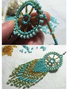 beaded earrings how to make Beaded Earrings Patterns, Seed Bead Earrings, Beaded Bracelets, Hoop Earrings, Knitted Necklace, Earring Tutorial, Fabric Jewelry, Handmade Beads, Artisanal