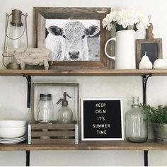 36 Gorgeous Antique Farmhouse Home Decoration Ideas – Farmhouse Decor Outdoor Kitchen Shelf Decor, Farmhouse Kitchen Decor, Kitchen Shelves, Kitchen Furniture, Antique Farmhouse, Antique Kitchen Decor, Farmhouse Furniture, Furniture Decor, Modern Farmhouse