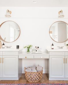One more look at our master bathroom refresh with These brass light fixtures are the perfect finishing touch and even prettier… Bathroom Styling, Bathroom Interior Design, Bathroom Designs, Bathroom With Makeup Vanity, Timeless Bathroom, Beautiful Bathrooms, Chic Bathrooms, Bathroom Trends, Master Bathrooms
