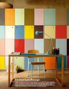 Storage cupboards, clean lines, fun colors. Love.