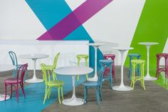 """Mix some coloured Bentwood chairs and stools in with white Tulip tables to create a real """"pop"""" of colour www.valiant.com.au"""