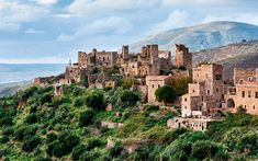 The Towers and Fortresses of Mani Area, Peloponnese, Greece Greek Castle, Empire Ottoman, Medieval Fortress, Destinations, Photos Voyages, Ghost Towns, Greece Travel, Macedonia, Beautiful World