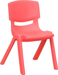 Plastic Stackable School Chair with 12'' Seat Height-Red