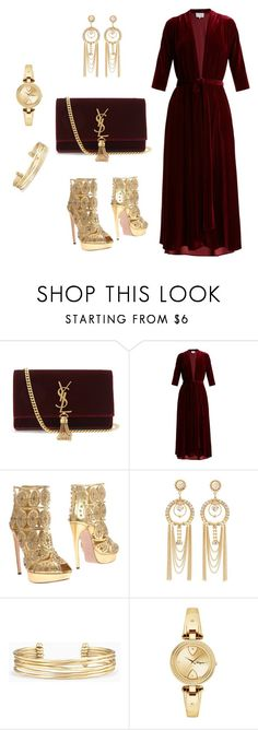 """Wine Velvet & Gold Fall Party Set (#30)"" by nazanin-mk ❤ liked on Polyvore featuring Yves Saint Laurent, LUISA BECCARIA, Alexander McQueen, Charlotte Russe, Stella & Dot, Salvatore Ferragamo, gold, YSL, velvet and goldwatch"