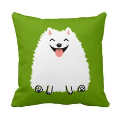 Funny White Pomeranian Cartoon Dog Pillow - Use this link for coupon codes: https://www.zazzle.com/coupons?rf=238077998797672559