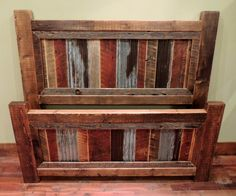 Straight Top Barnwood Bed With Rusted Metal Panel Insets With Wood Dividers.