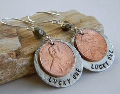 Lucky One Penny Earrings by RosesDesigns on Etsy, $15.00  www.RosesDesigns.etsy.com