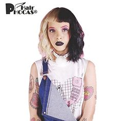 HairPhocas Melanie Martinez Cosplay Half Blonde and Half Black Short Curly Wig -- You can get additional details at the image link.(This is an Amazon affiliate link and I receive a commission for the sales)