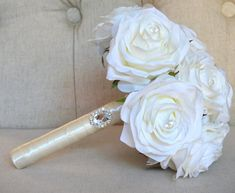 This dreamy Bling Wedding, Ivory Wedding, Paris Wedding, Rustic Wedding, Wedding Ideas, Ivory Roses, Silk Roses, Ivory Silk, Blue Wedding Centerpieces