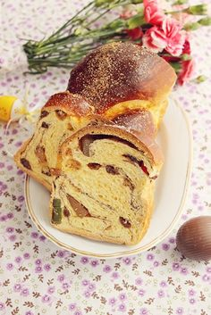 Romanian Sweet bread for Easter- a traditional bread (cozonac) with raisins