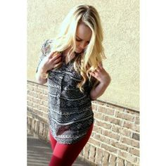 Check out this cute tribal blouse at www.KISSmeMINT.com and see it styled by blogger www.STYLEmeMINT.com
