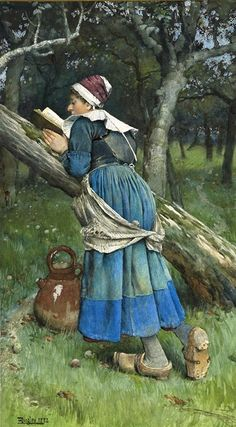 Langley, Walter (b,1852)- Woman of Brittany Reading, 1882 {Duplicate Variation Below- this has better color & definition}