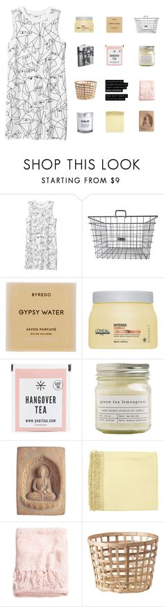 """""""girlllll"""" by abbeyso ❤ liked on Polyvore featuring Monki, Byredo, L'Oréal Paris, Brooklyn Candle Studio, Surya and H&M"""