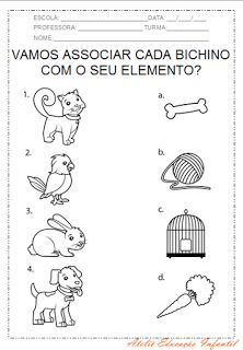 "ATELIÊ CANTINHO DA EDUCAÇÃO INFANTIL: PROJETO ""ANIMAIS"" Busy Book, Matching Games, Speech Therapy, Worksheets, Activities, Books, Cognitive Activities, Literacy Activities, Initials"