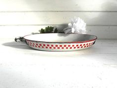 Cute French red and white enamelware dish. by frenchvintagedream, $20.00