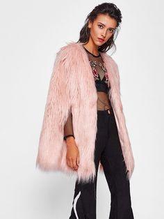 8de379369ac Fluffy Faux Fur Cape Coat -SheIn(Sheinside) Fur Cape