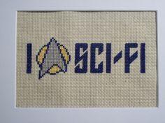 "Star Trek ""I Heart Sci-Fi"" Cross Stitch on Etsy, $20.00"