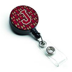 Letter J Football Garnet and Gold Retractable Badge Reel CJ1078-JBR