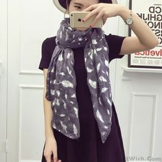 Wow~ Awesome Retro Feather Printed Voile Infinity Scarf ! It only $17.99 at www.AtWish.com! I like it so much<3<3!