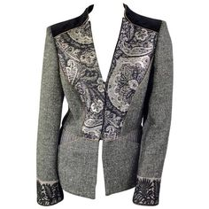 Preowned Etro Grey Wool And Black Brocade Blazer With Taupe Trim ($450) ❤ liked on Polyvore featuring outerwear, jackets, blazers, grey, pocket jacket, print jacket, etro jacket, wool jacket and brocade jacket