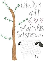 Life Is A Gift Sampler - 5x7 | Primitive | Machine Embroidery Designs | SWAKembroidery.com