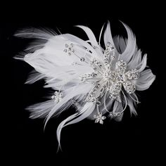 silver-white Feather Silver Crystal Bridal Hair Clip 456 with Brooch Pin