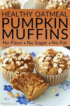 No Flour Sugar Free Oil Free Dairy Free Healthy Pumpkin Muffins Recipe - Love pumpkin baked goods but hate junk food? These healthy pumpkin muffins are tasty and guilt free (gluten free sugar free oil free & dairy free)! Pumpkin Oatmeal Muffins, Pumpkin Muffin Recipes, Baked Pumpkin, Healthy Pumpkin Muffins, Healthy Pumpkin Recipes, Oat Flour Muffins, Gluten Free Pumpkin Bread, Healthy Muffin Recipes, Clean Eating Pumpkin Muffins