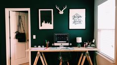 Green walls, Harry Potter, Harry Potter art, bedroom, desk, diy